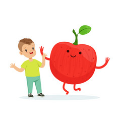 Happy boy having fun with fresh smiling apple vector