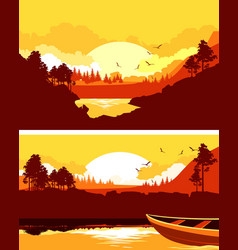 set of horizontal nature banner vector image
