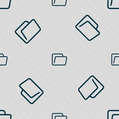 Folder icon sign seamless pattern with geometric vector