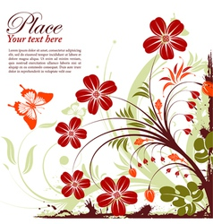 Grunge floral butterfly vector