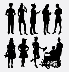 Nurse female silhouettes vector
