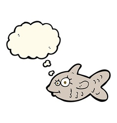 cartoon happy goldfish with thought bubble vector image