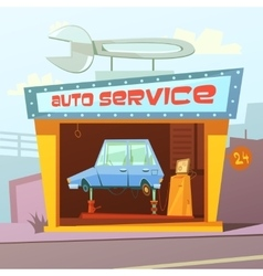 Auto service building background vector