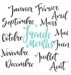 Handwritten french months vector