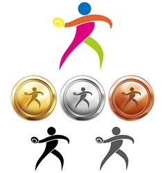 Sport medals with discus throwing vector