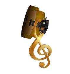 acoustic guitar with a treble clef on the vector image