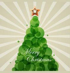 blue cristmas fir star green circle vector image
