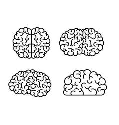 brain monochrome silhouettes several views vector image vector image
