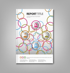 Brochures book or flyer with colored rings and vector image
