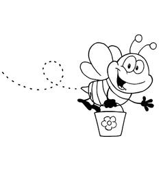 Cartoon bee with pollen vector image vector image