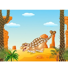 Cartoon happy ankylosaurus with prehistoric vector