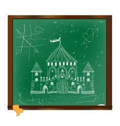 Castle drawing on blackboard art vector image vector image
