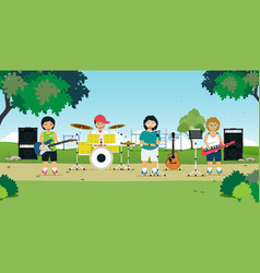 children play music vector image