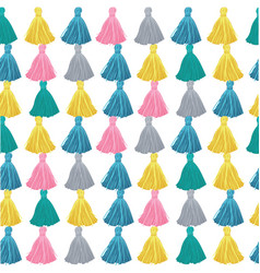Colorful decorative tassels rows seamless vector