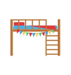 Comfortable bunk bed cozy baby room decor children vector