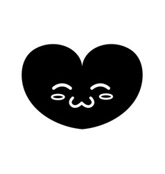 Contour cute heart kawaii character design vector