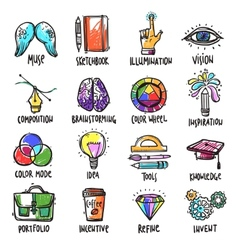 Creative process icons set vector