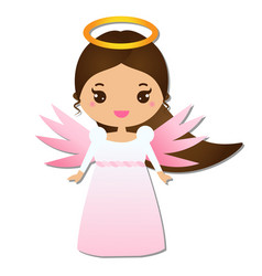 Cute angel kawaii style paper figure sticker vector