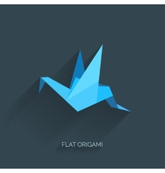 Flatr origami paper bird on abstract background vector image vector image