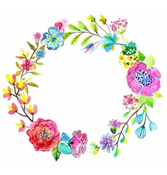 Flower watercolor wreath for beautiful design vector