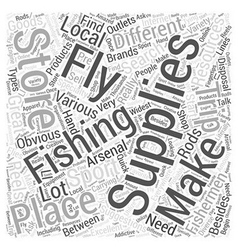 Fly fishing supplies word cloud concept vector