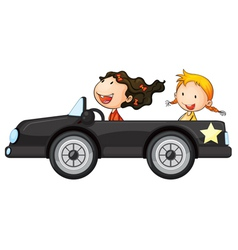 Girls and a car vector image vector image