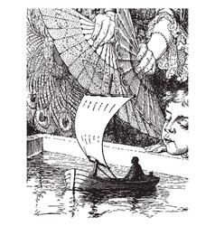 Gulliver in a miniature boat vintage vector