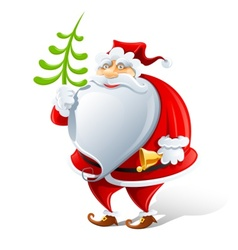 happy santa claus with bell vector image vector image