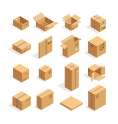 isometric packaging boxes set vector image