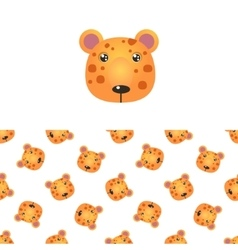 Leopard head icon and pattern vector