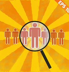 Magnifier enlarges human - - eps10 vector