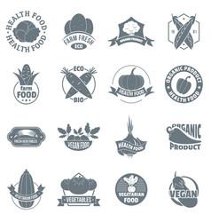 organic farm product logo icons set simple style vector image