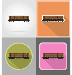Railway transport flat icons 03 vector