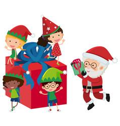 Santa and happy children on present box vector