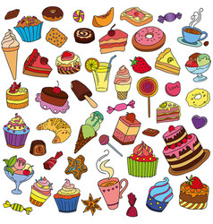 Set of different sweets vector
