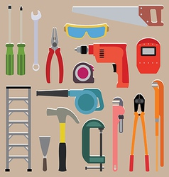 Set of tools instrument icons vector