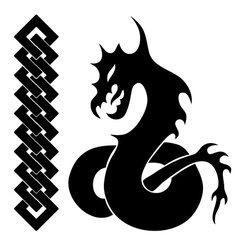 Silhouette of dragon vector