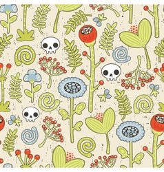 Skulls and flowers seamless background vector image