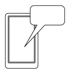 Smartphone with bubble speech icon outline style vector image