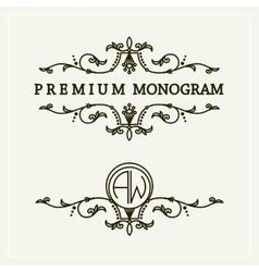Stylish floral monogram design line art logo vector image
