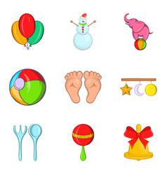 Tad icons set cartoon style vector