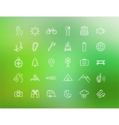 Tourism camping linear icons set isolated on vector