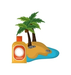 Tropical island and sun block icon vector