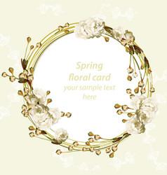 Vintage cherry blossom round card frame spring vector
