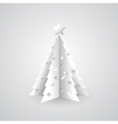 White paper Christmas tree background vector image
