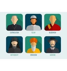 World religions monk people icons flat design vector