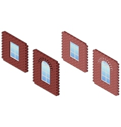 Brick wall whith window vector