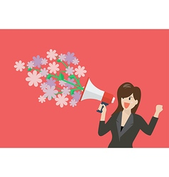 Business woman holding a megaphone with flowers vector