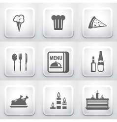 Set of square application buttons restaurant vector image
