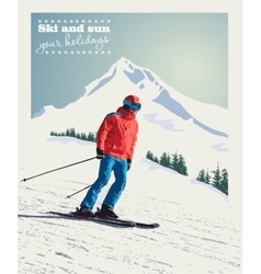 Winter poster background advanced skier vector